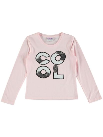 Girl Long Sleeve Flip Sequin T Shirt