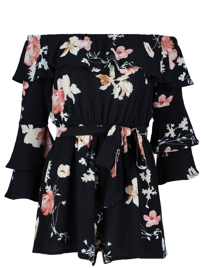 Miss Mango Off Shoulder Frill Playsuit