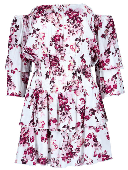 Miss Mango Frill Sleeve Shirred Playsuit