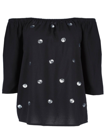 Plus Sequin Embellished Top Womens