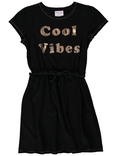 Girls Slogan Knit Dress