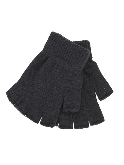 BLACK KIDS FINGERLESS GLOVES