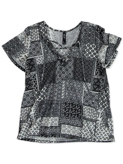 EYELET TILE PRINT TOP WOMENS