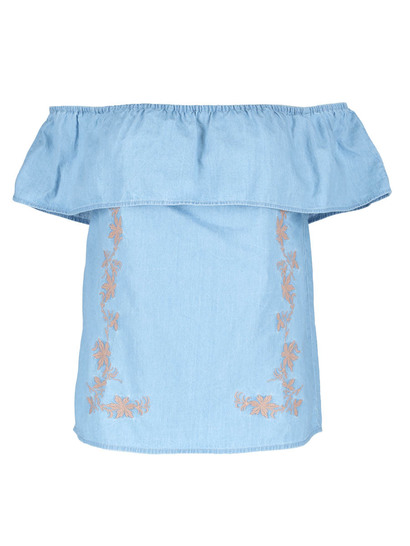 Embroidered Chambray Frill Top Womens