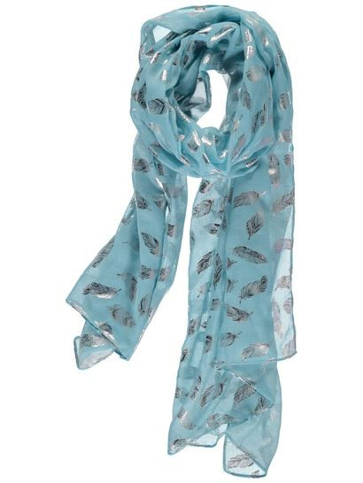 Women Feather Print Scarf