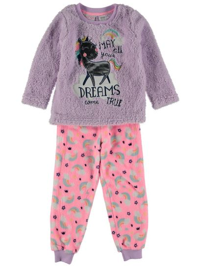 Girls Coral Fleece Twosie Pyjama Set