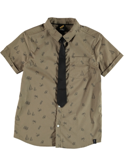 Boys Print Shirt With Tie