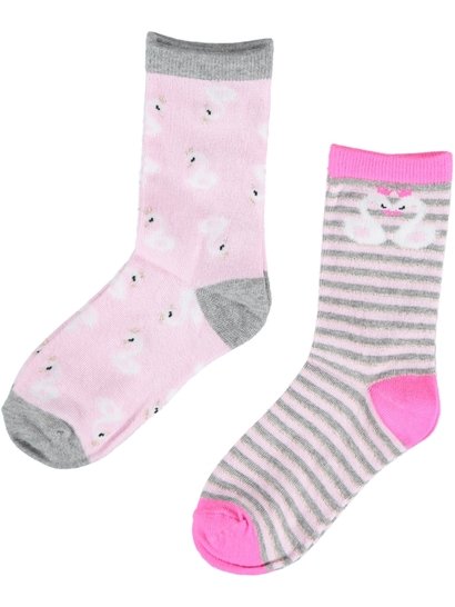 Girls 2 Pack Crew Print Socks