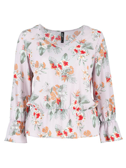Plus V-Neck Peplum Hem Top