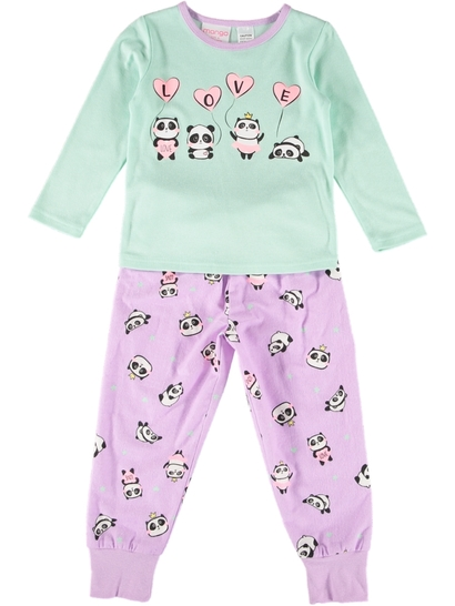 Girls Knit Flannelette Pyjama Set