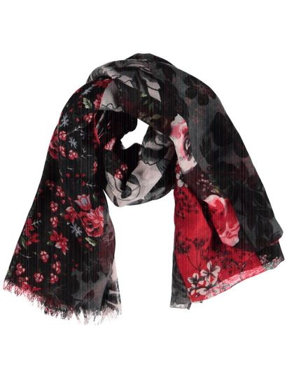 Women Mixed Flower Print Scarf