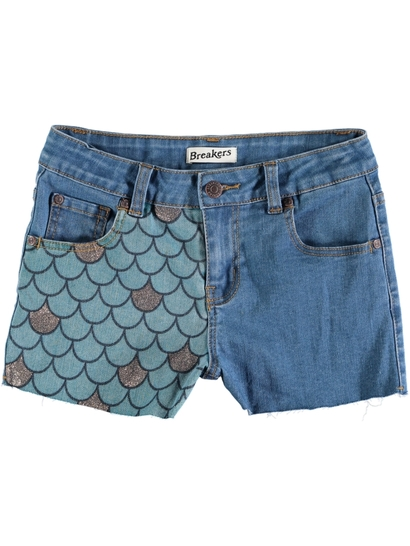 Girls Mermaid Denim Short