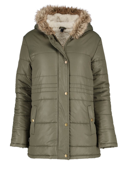 Plus Sherpa Lined Puffa Coat Womens