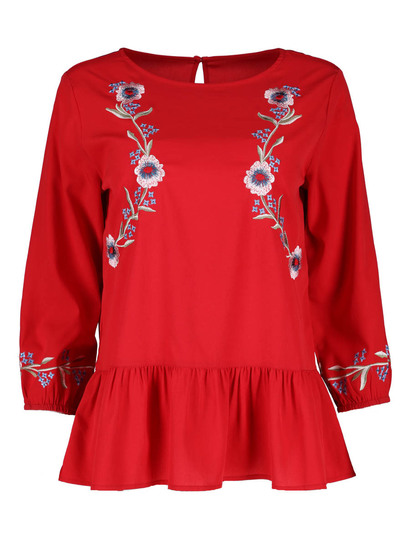 Embroidered Peplum Top Womens