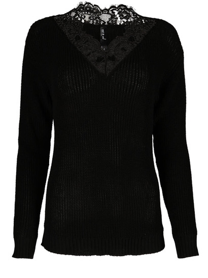 Plus Lace Trim Pullover Womens