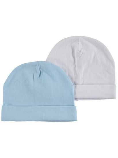 BABY 2PK COTTON ELASTANE BASIC BEANIES