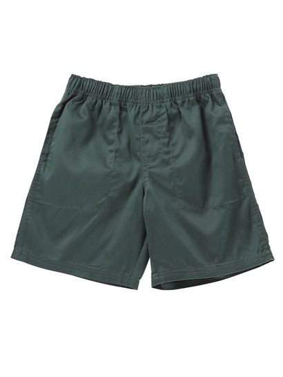 BOTTLE GREEN BOYS PLAIN DRILL SHORTS