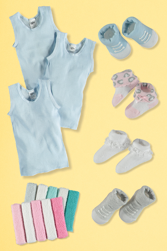 Baby singlets, socks and face washers