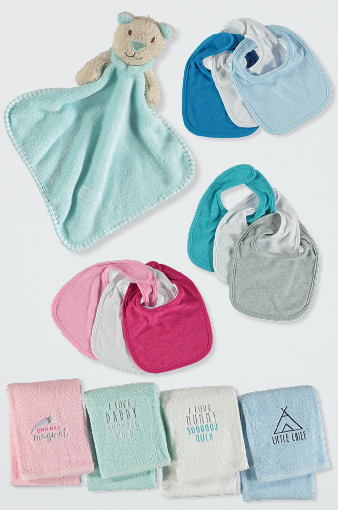 Baby towels, bibs & plush toys